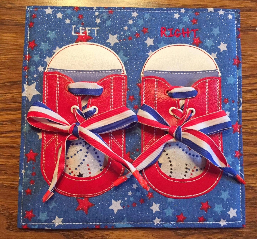 6x6 & 8X8 TIE YOUR SHOES QUIET BOOK PAGE