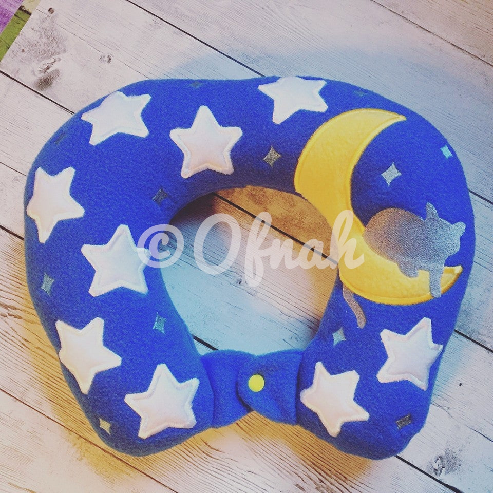6X10 & 8X12 CAT MOON AND STARS NECK PILLOW