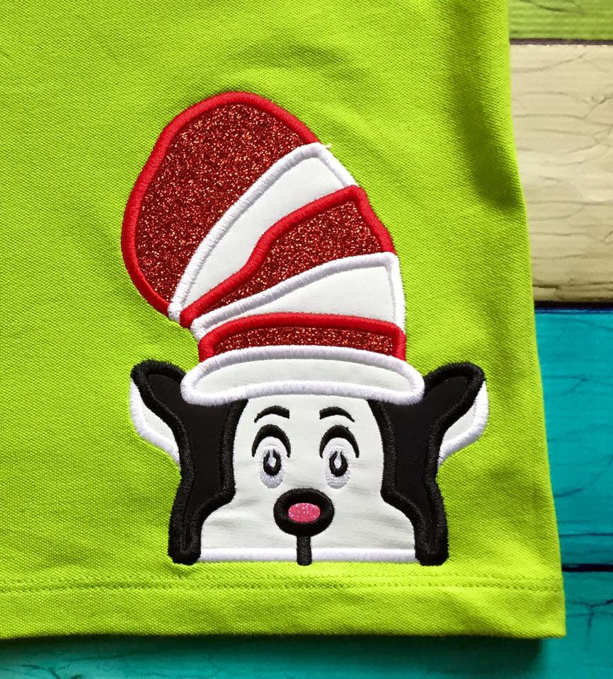 5x7 CAT IN THE HAT DR SEUSS HEAD FOR HOODED TOWEL