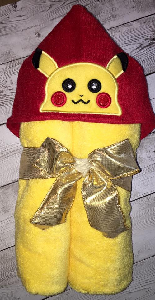 5X7 PIKACHU HEAD FOR HOODED TOWEL