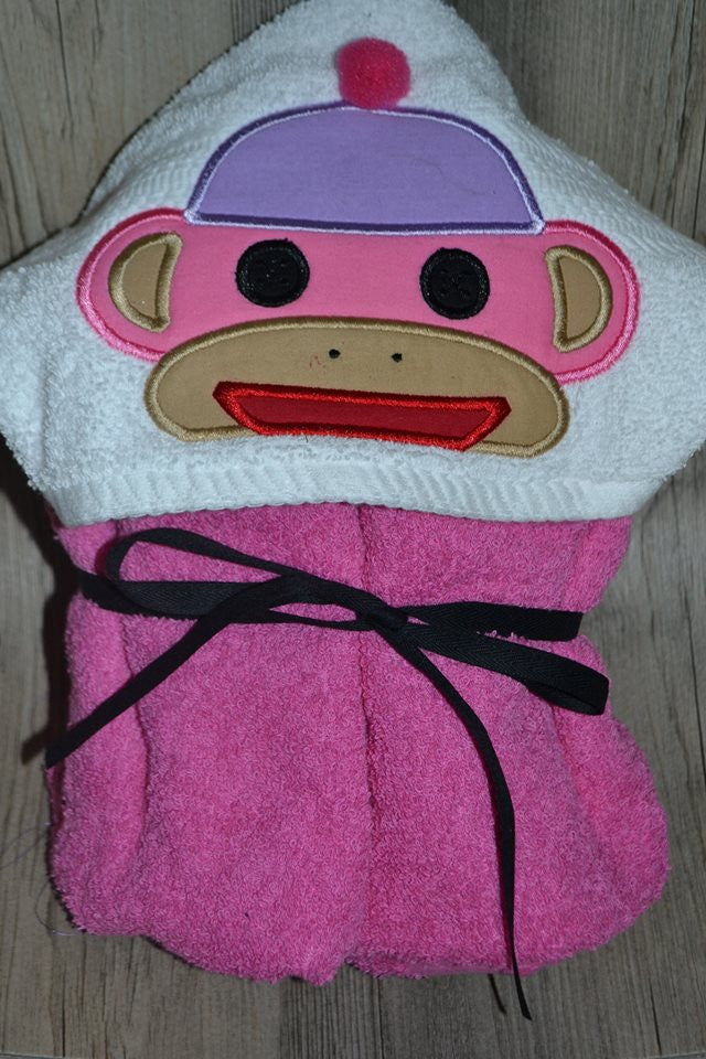 5X7 SOCK MONKEY HEAD FOR HOODED TOWEL