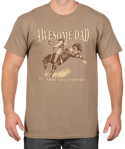Brown Savana Rodeo Cowboy Riding T-Shirt - Awesome Dad