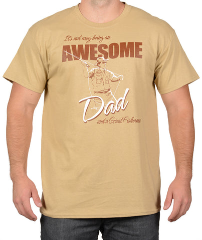 Tan Fly Fishing T-Shirt - Awesome Dad