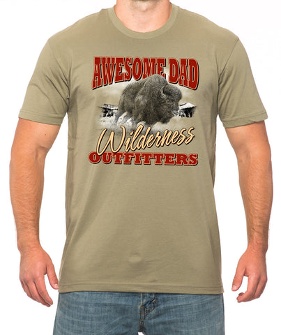 Light Olive Bison Wilderness Outfitters T-Shirt - Awesome Dad