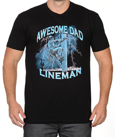 Black Lineman T-Shirt - Awesome Dad