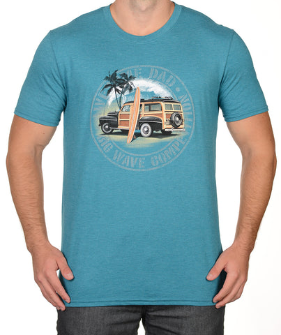 Heather Teal Surfer Woody T-Shirt - Awesome Dad