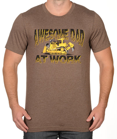 Heather Brown Bulldozer At Work T-Shirt - Awesome Dad