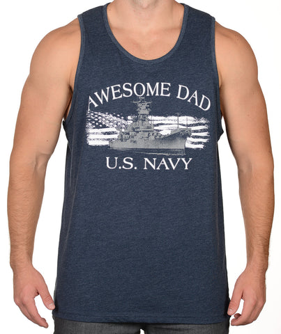Navy US Navy Ship and Flag Tank Top - Awesome Dad