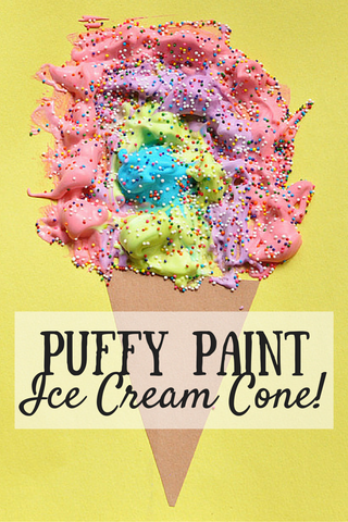 Toddler crafts, summer crafts, sensory activities. Puffy paint ice cream cone.