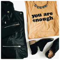 You Are Enough Muscle Tank Gold