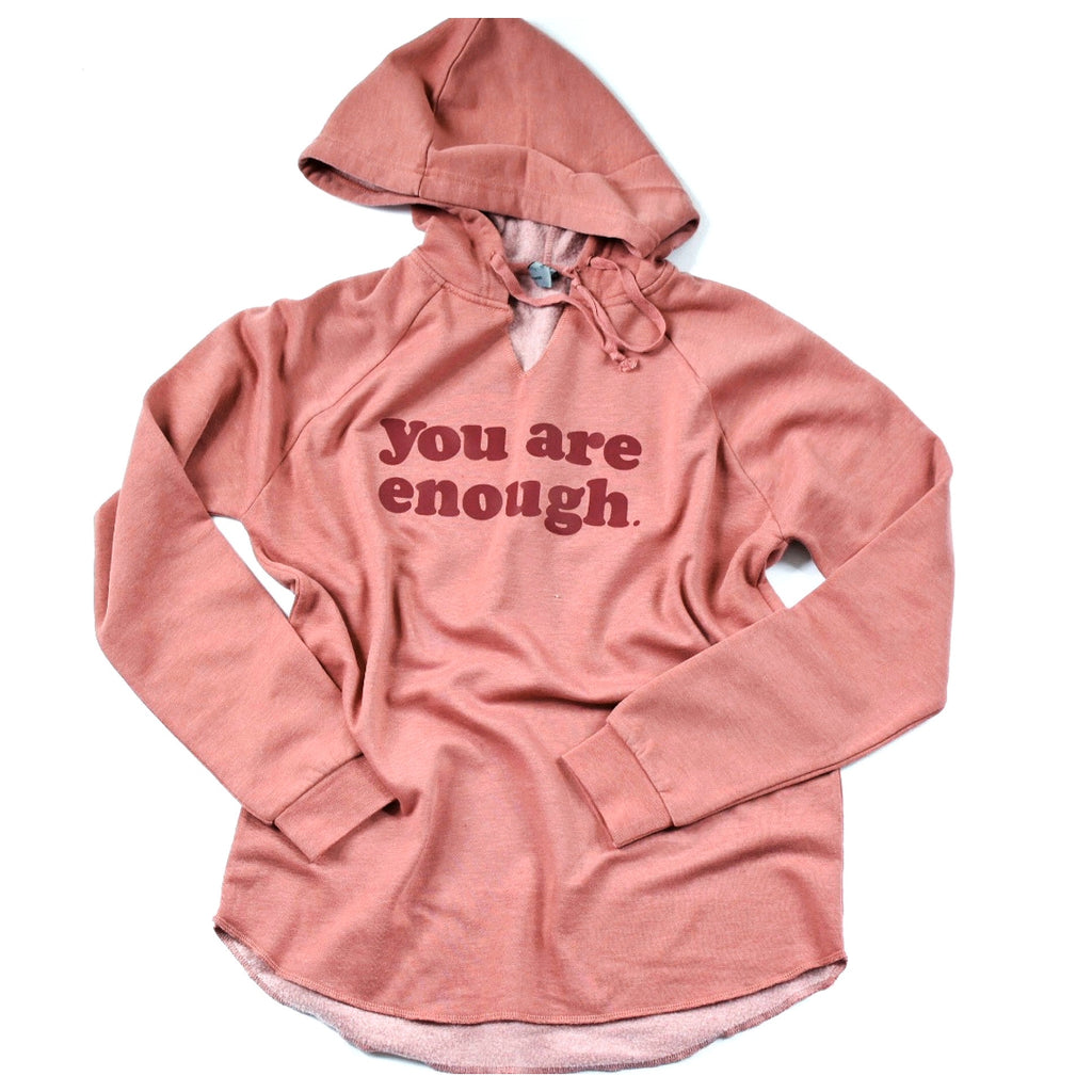 You Are Enough Lightweight Hooded Pullover