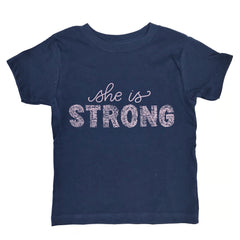 She is Strong Navy + Metallic Rose (kids)