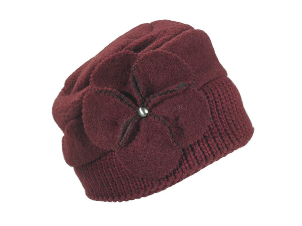 ANNA - SOFT WOOL CAP W/FLOWER ON SIDE - MADE IN ITALY