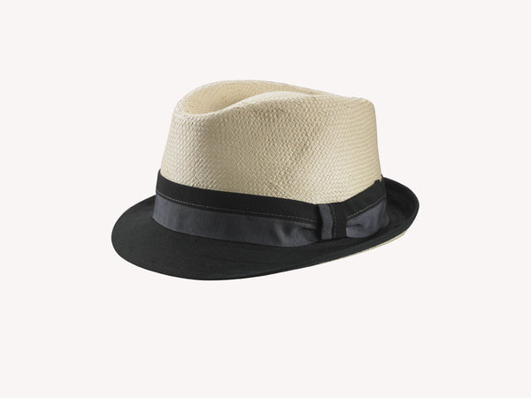 NATURAL STRAW/FABRIC HAT FROM ITALY