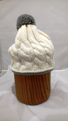 POMPOM Cable Knit Cap