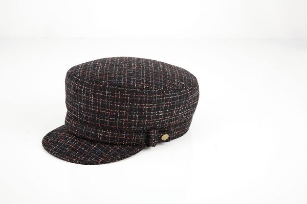 SHAY - SOFT, FOLDABLE, WOOLBLEND MILITARY CAP IN BLACK WITH MULTI COLOR STRIPES