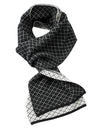 DIADOT SCARF - STEFENO EXCLUSIVE! ITALIAN KNIT 100% CASHMERE SCARF IN BLACK/WHITE DIAMOND PATTERN