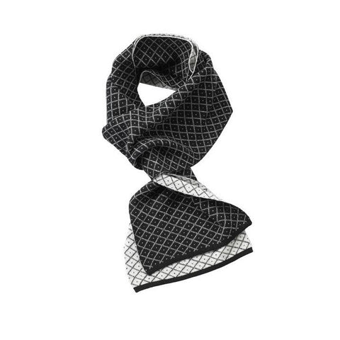 Cashmere Diamond Knit Reversible Scarf - 100% Cashmere