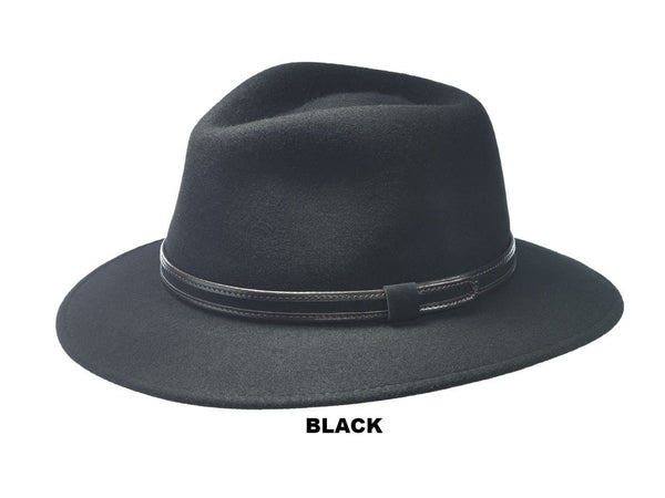 WOOL FELT HAT WITH A DOWNTURN BRIM AND LEATHER HAT BAND FROM ITALY