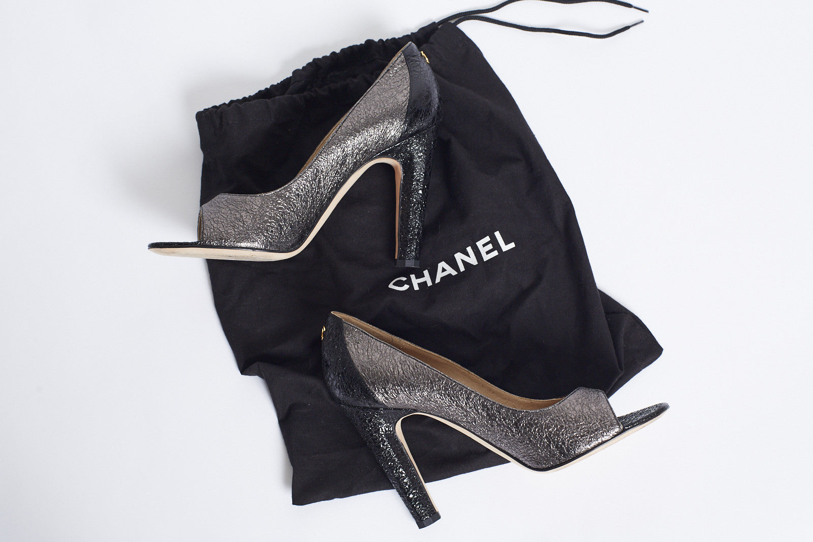 Chanel Metallic Peep-toe Pumps