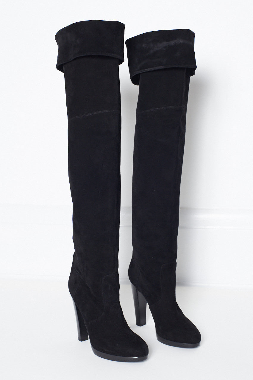 Hermès over-the-knee-high Black Suede Boots