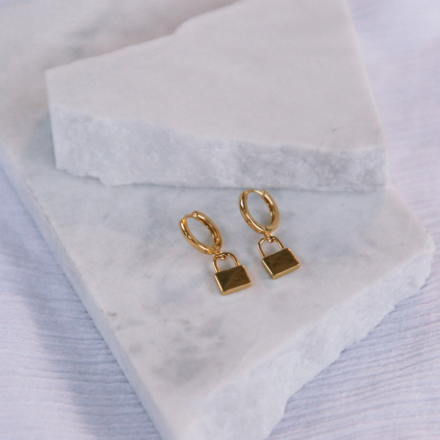 Aleeka - Huggie Padlock Earrings in Silver, Gold & Rose Gold