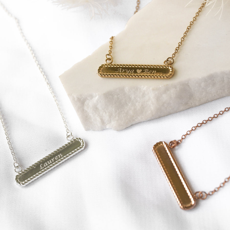 Ashleigh - Stainless Steel Monogrammed Bar Necklace
