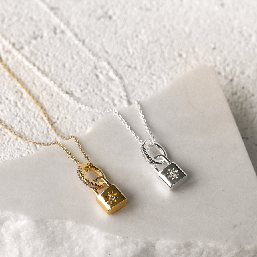 Katie - 18ct Gold or Silver Plated Padlock Necklace