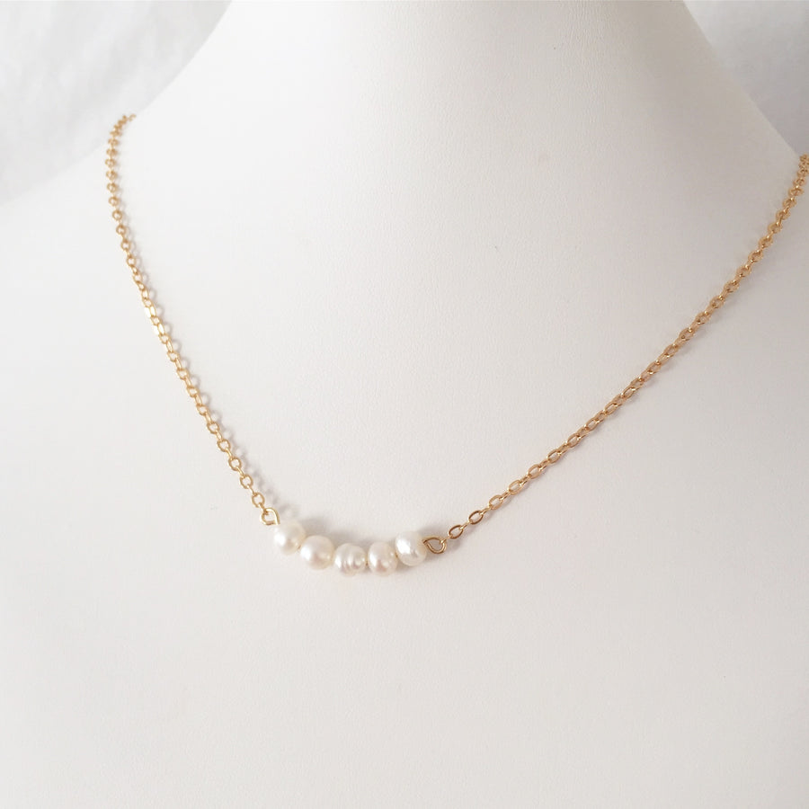 Violet - Fine Pearl Necklace in Silver or Gold