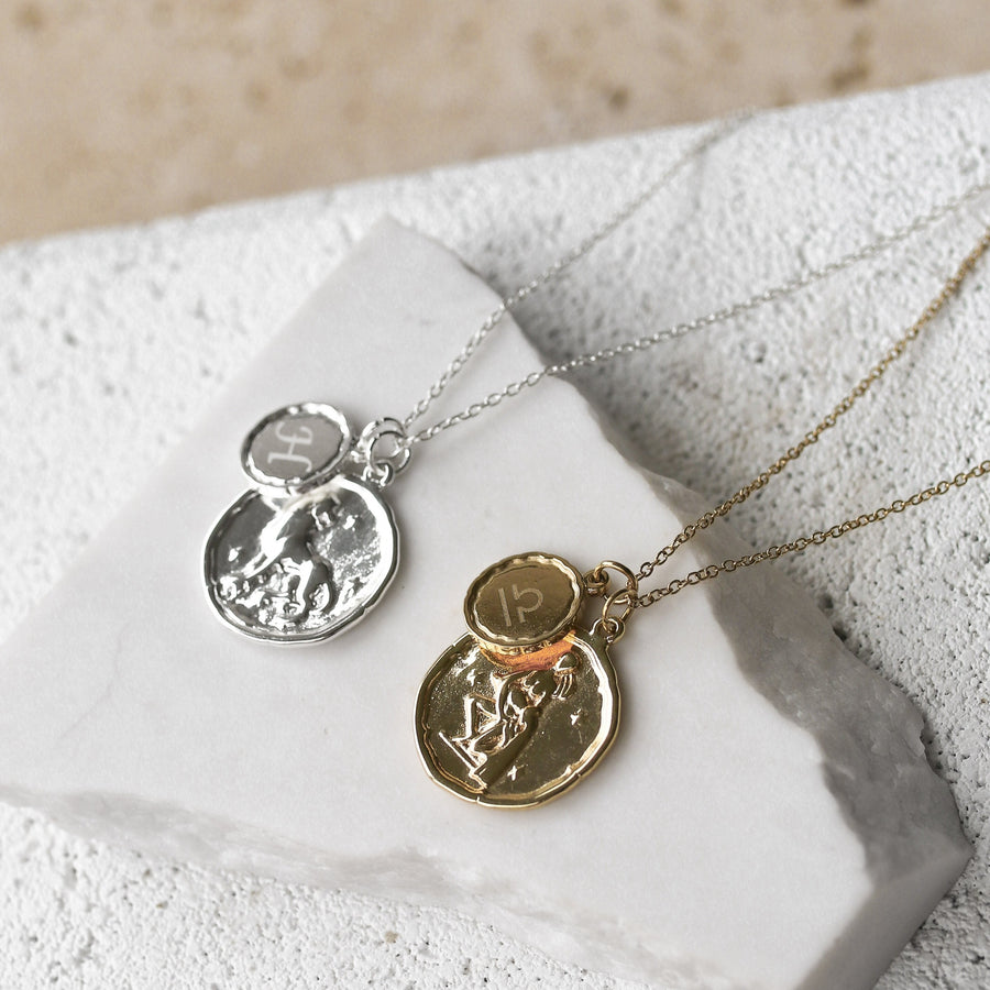 Zara - 18ct Gold or Silver Plated Horoscope & Monogram Necklace