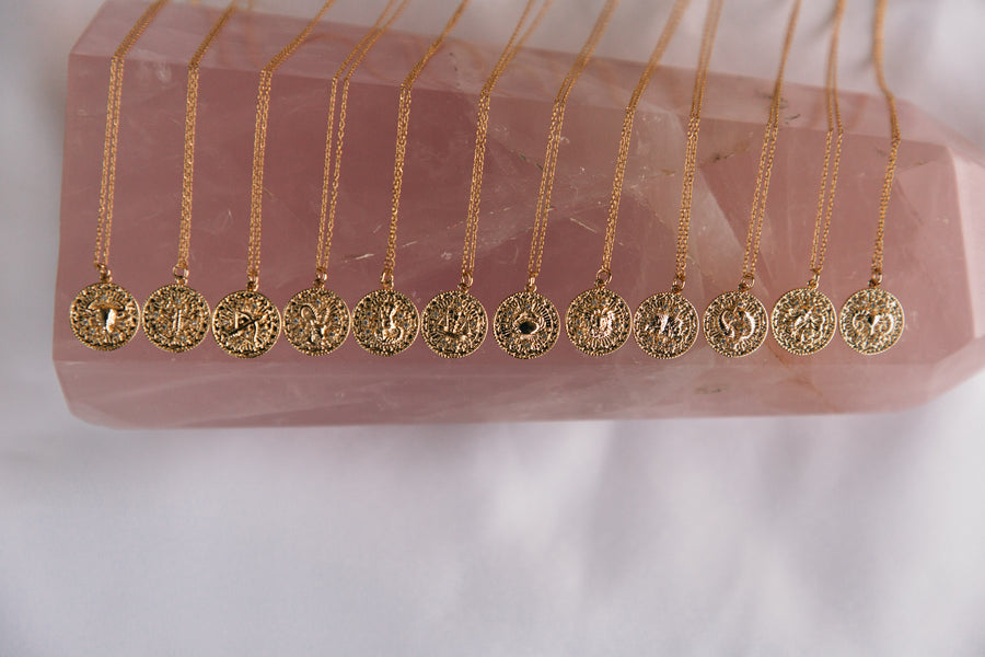 Thea - 18ct Gold or Silver Plated Horoscope & Monogram Necklace
