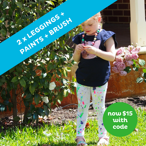 Paint Your Own Leggings (SIZE 10) Craft Pack PLUS Free T-SHIRT OR ONESIE