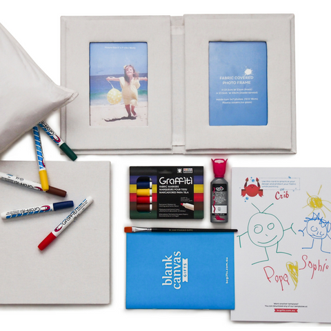 Fabric covered Photo Book & Frames + Markers Gift Pack