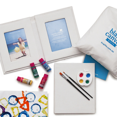 Fabric covered Photo Book & Frames + Paints Gift Pack