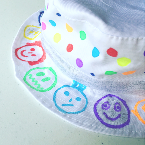 Sunhat + Fabric Markers + Gems & Glue Craft Pack for Kids - PLUS FREE EXTRA T-SHIRT OR OTHER BLANK
