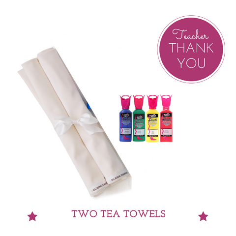 Tea Towels (2) + Fabric Paints Teacher Gift (Buy One Tea Towel, Get One FREE!)