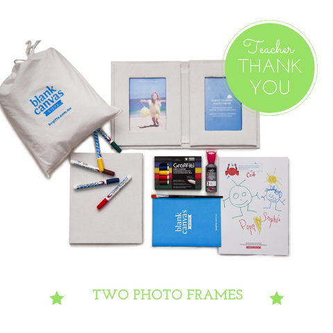 TWO Fabric covered Photo Frame + Markers Teacher Thank You Gift