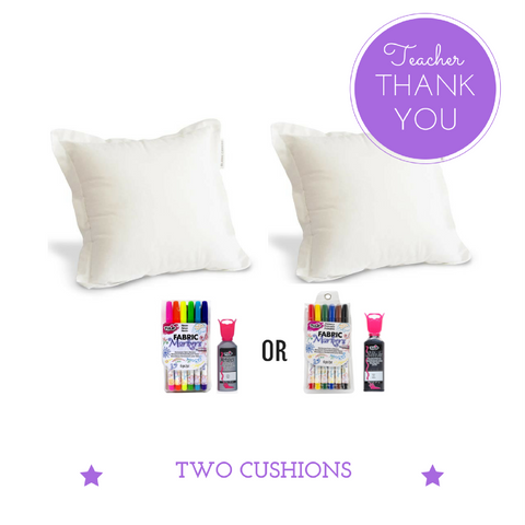 TWO Cushions + Markers - Teacher Thank You Gift Pack