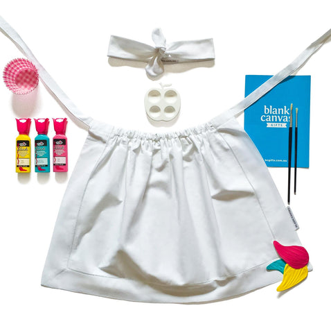 Cooking Apron + Headband + Fabric Paints