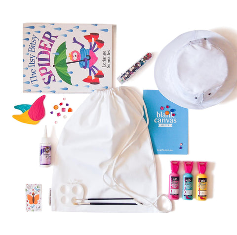 Library Bag + Sunhat + Gems + Fabric Glue Combo Pack