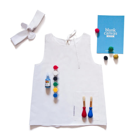 Painting or Art Smock + Headband + Fabric Paints Gift Pack