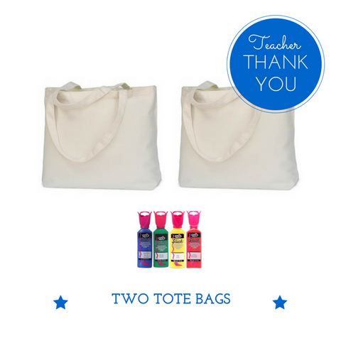 TWO Tote Bags + paints Teacher Thank You Gift