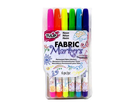White Canvas Pencil Case + Fabric Markers - Plus free extra blank