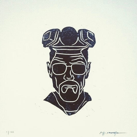 BR BA (Walter) by Rocco Malatesta Hand Pulled Linocut Print
