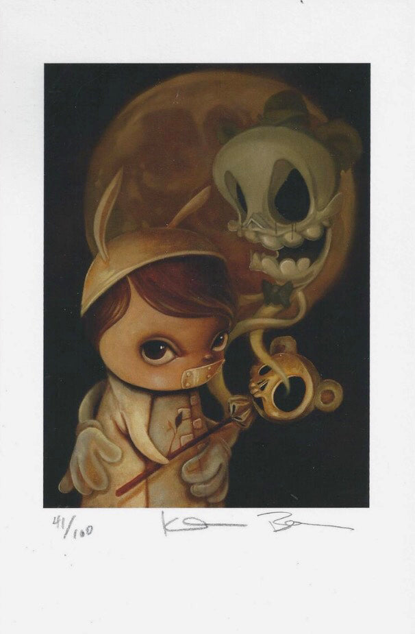 Lowbrow art print image of a young hannibal-like character carrying a skull torch