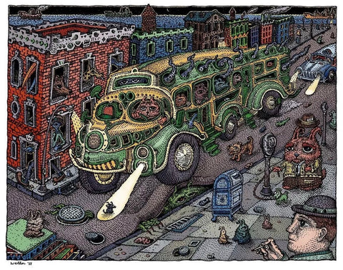 Sunset Bus by David Welker 15x12