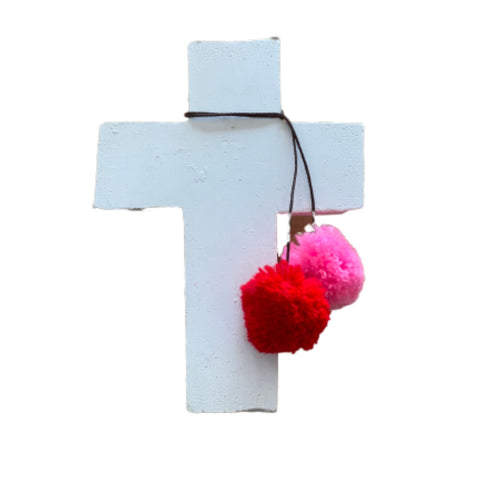 Wall Cross | White Pom Pom | Small