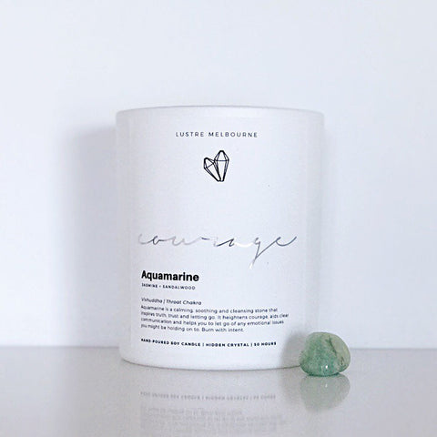 Courage | Aquamarine Intention Candle | Jasmine + Sandalwood