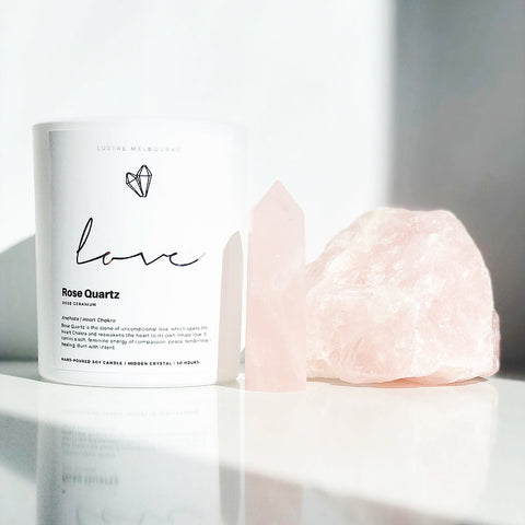 Love | Rose Quartz Intention Candle | Rose Geranium