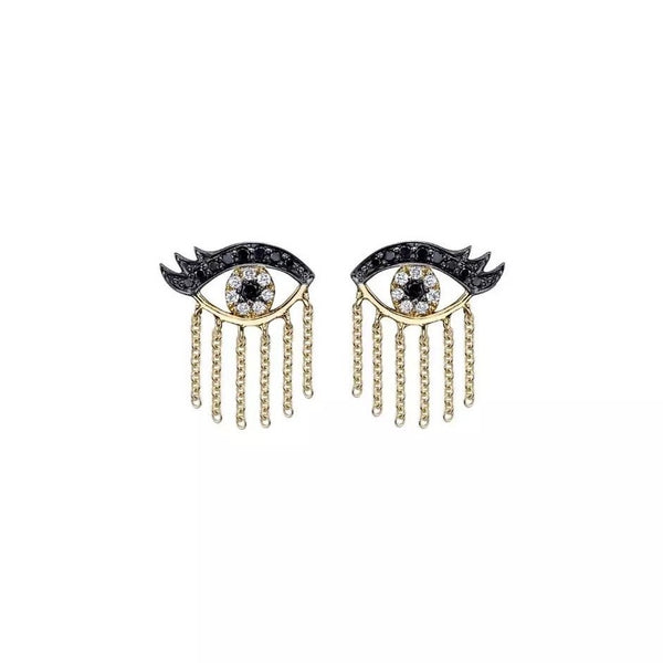 Crystal Eye Chain Earrings - Gold
